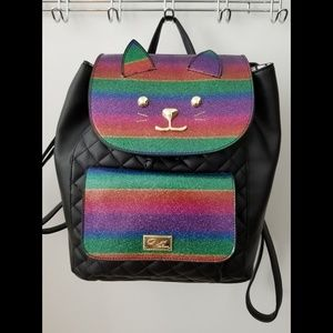 Betsey Johnson Rainbow Glitter Cat Backpack